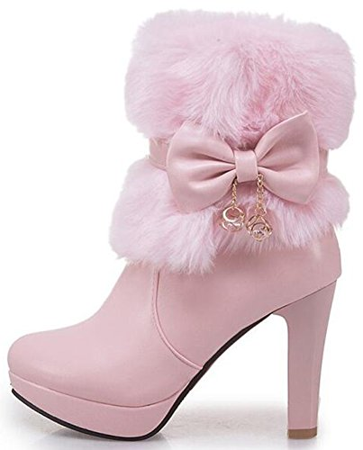 Zipper Pink Round Snow Side Mofri Women'e Platform Heel Ankle Toe Faux Booties Boots High Fashion Bow Short Fur Chunky Fzq7Z6Uf