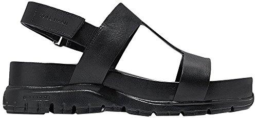 Cole Haan Womens Womens Zergrand Tstrap Sandal Sort Skinn-svart
