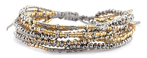 Chan Luu Collection Base Metal Grey Mix Multi Strand Beaded Pull Cord Bracelet (Chan Luu Multi Strand)