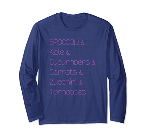 Unisex Broccoli Kale Cucumbers Carrots Tomatoes Long Sleeve T-Shirt XL: Navy