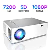 """BOMAKER Native 1080p Full HD Projector, 7200 Lux, Outdoor Movie Projector, 50% Zoom Out, 5D ±50° X/Y Keystone, 9000:1 Contrast Ratio, 300"""" Display, Compatible with TV Stick, Android, iOS, HDMI, PC"""
