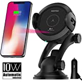 Qi Wireless Car Charger Mount - Car Charger Holder for iPhone x 8/8Plus,10W Fast chargeing for Samsung Galaxy S8/S9/Note8.Infrared Motion Sensor Automatic Open and Clamp for Safe Driving (10W Update)
