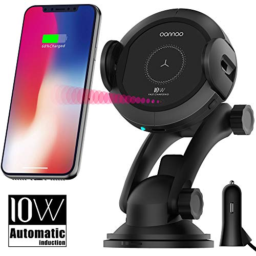 Mount Air Quality Sensor - Qi Wireless Car Charger Mount - Car Charger Holder for iPhone x 8/8Plus,10W Fast chargeing for Samsung Galaxy S8/S9/Note8.Infrared Motion Sensor Automatic Open and Clamp for Safe Driving (10W Update)