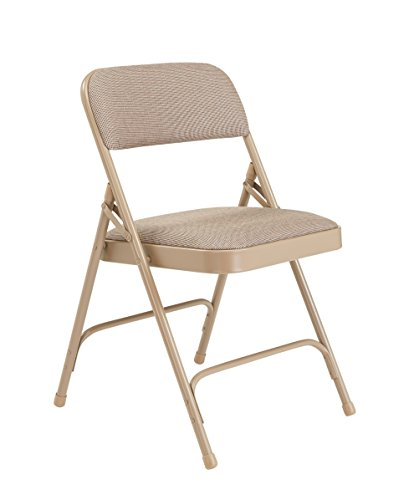 National Public Seating 2201 Series Steel Frame Upholstered Premium Fabric Seat and Back Folding Chair with Double Brace, 480 lbs Capacity, Cafe Beige/Beige (Carton of - Back Chair Folding