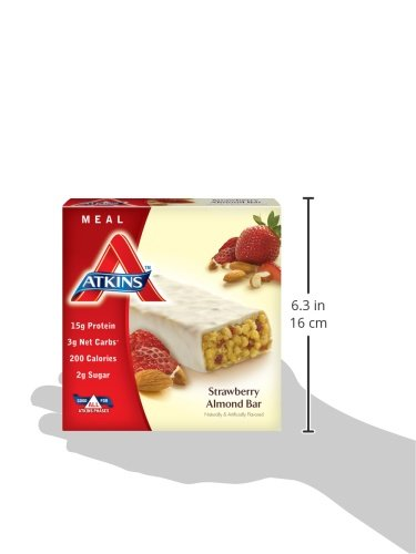 Atkins Meal Bar, Strawberry Almond, 5 Bars