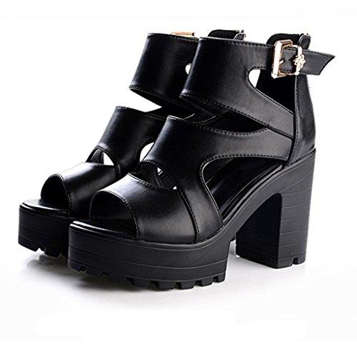 Mujeres Primavera con Tacones Después Impermeable Zapatos YUBIN con De Gruesos De Cómodas Verano Paquete La Hebilla del Plataforma Y Sandalias Casuales Sandalias Gruesas 1zEzxqY