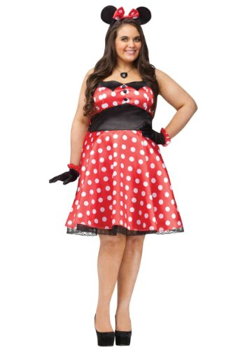 Retro Miss Mouse Adult Costume - Plus Size 1X/2X - Plus Size Minnie Mouse Costumes