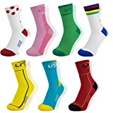 Lin 7 Pack Cycling Socks for Men and Women Funny
