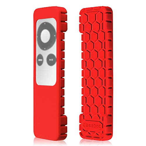 Fintie Protective Case for Apple TV 2 3 Remote Controller - Casebot [Honey Comb Series] Light Weight [Anti Slip] Shock Proof Silicone Sleeve Cover, Red