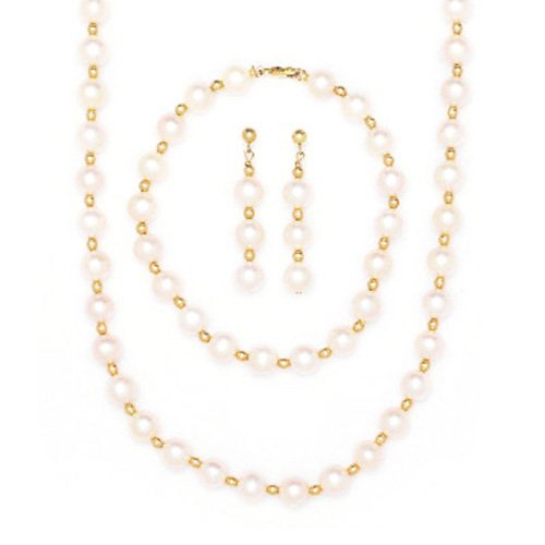 14k Yellow Gold Bead and Freshwater Cultured Pearl Necklace, Bracelet and Earrings Set by Beauniq