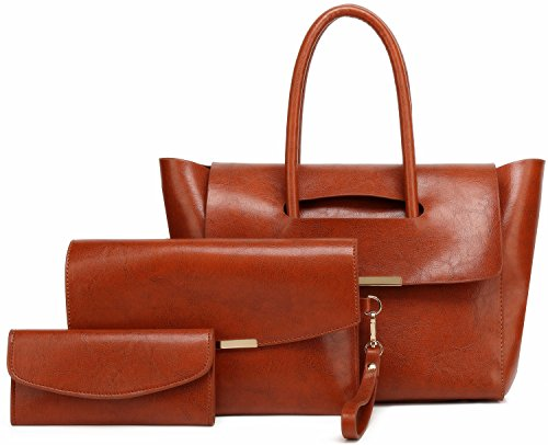 Women Purses and Handbags Shoulder Bag Set for Women 3 PCS Tote Bag Gift Set (A5-brown)
