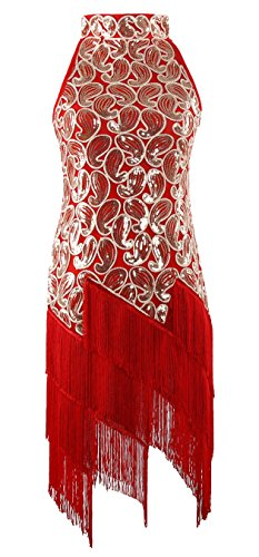 [JustinCostume 1920s Sequined Retro Pattern Flapper Dress Halloween Costume (X-Large, Red)] (Womens Halloween Ideas)