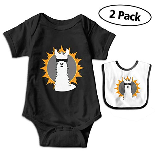 LMJ-PPF Simple Llama Unisex Baby Short Sleeve Bodysuits Onesies Give Baby Bib, Black ()