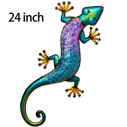 (TERESA'S COLLECTIONS 24 inch Gecko Metal Wall Art Outdoor Lizard Decor for Backyard Porch Home Patio Lawn Fence)