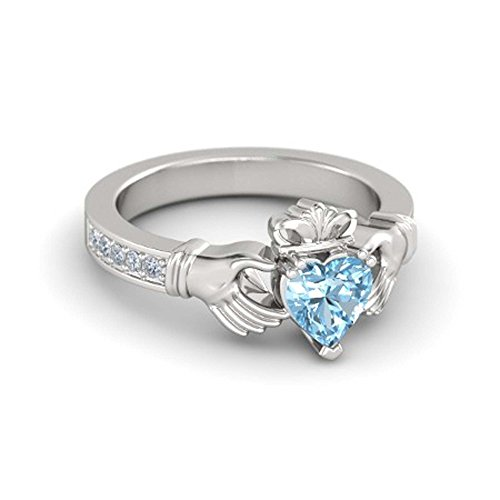 RSJ Global 14K White Gold Plated Alloy 6MM Heart Cut Created Aquamarine & White CZ Round Claddagh Ring For Women's