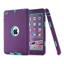 iPad Mini Case,iPad Mini 2 Case,iPad Mini 3 Case,MAKEIT Dual Layer Hybrid Armor Protection Defender Case Cover for Apple iPad Mini 1 2 3 -Purple/Mint green