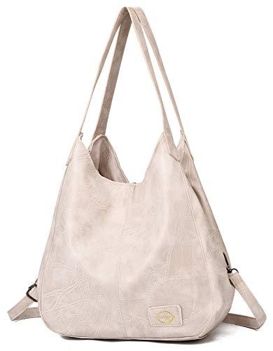 (Handbag for Women 3 Compartments Faux Leather Hobo bag Multiple Pocket Shoulder bag Tote Purse)
