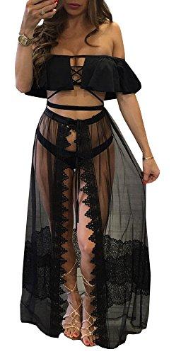 Farktop Women's Sexy Open-Front Sheer Mesh See Through Lace Bikini Cover Up Maxi Skirt