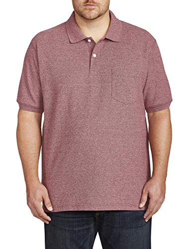 (Harbor Bay by DXL Big and Tall Pocket Pique Polo, Dark Cranberry Heather XLT)