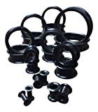 "PAIR of Black Soft Silicone Ear Tunnels Plugs - up to size 50mm! (1"" (26mm))"