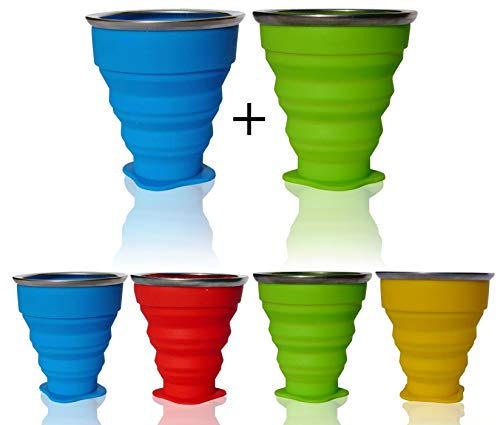 AVALEISURE Collapsible Silicone Travel Cup- The Genuine 10oz Foldable Drinking Mug with Lid, BPA Free, Water, Coffee, Tea & Snacks for Hiking, Camping, Picnic & Commuting to Work