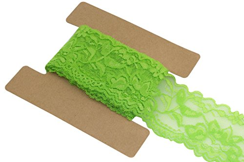 (Lace Fabric Stretch Elastic JLIKA Brand 2.25 inches Wide Trim Lace for Headbands Garters 20 Yards (Lime Green) )