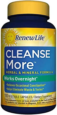 Renew Life Adult Cleanse - Cleanse More, Overnight Constipation Relief - 100 Vegetable Capsules