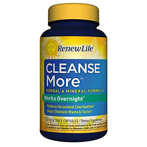 Renew Life Adult Cleanse - Cleanse More, Overnight Constipation Relief - 100 Vegetable Capsules (Packaging May Vary)