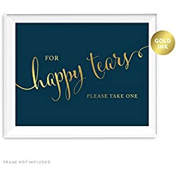Andaz Press Wedding Party Signs, Navy Blue with Metallic Gold Ink, 8.5x11-inch, For Happy Tears Tissue Kleenex Ceremony Sign, 1-Pack