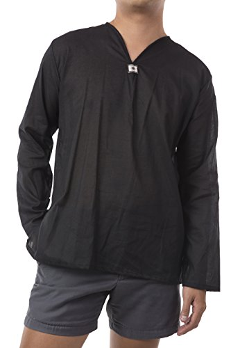 Men Renaissance Medieval Black Linen T Shirt V Neck Hippie Pirate Fisherman Beach Kurta Yoga (Men's Pirate Clothing)