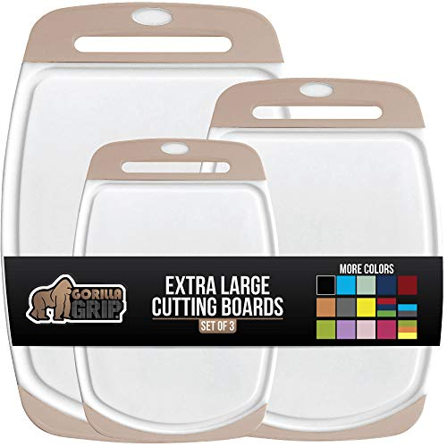 Gorilla Grip Oversized Cutting Board, 3 Piece, Easy Grip Handle, Juice Grooves, Non-Slip, Extra Large Thick Chopping…