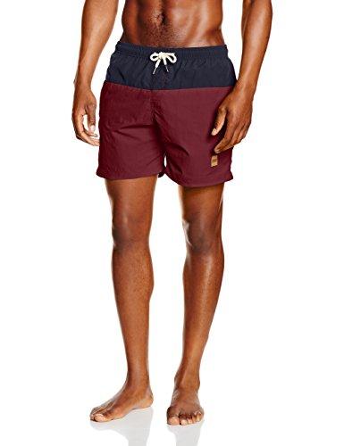 Urban Classics Herren Badehose Block Swim Shorts, Mehrfarbig (Nvy/Burgundy 675), Large