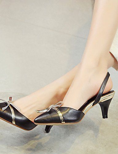 ShangYi Womens Shoes Cowhide Stiletto Heel Heels / Comfort / Pointed Toe Heels Outdoor / Office & Career / Party & Evening almond