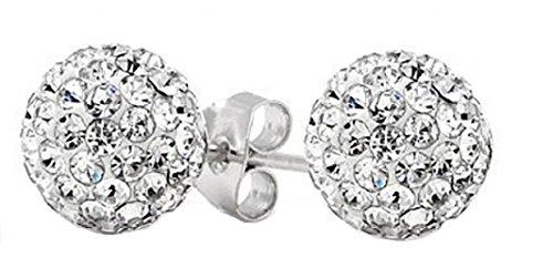 .925 6MM Sterling Silver Crystal Ball Stud Earrings 2 - Newport Sterling Ring Silver