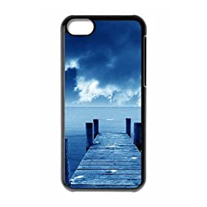 Tyquin Sky IPhone 5C Case Blue Sky and Sea Protective Cute for Girls, Case for Iphone 5c for Boys Protective Cute for Girls [Black]