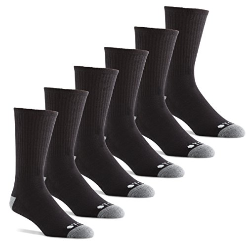 Crew 13 Mens Tennis Socks - TCS Men's Extended Size Performance Athletic Crew Socks with Arch Support for Running, Tennis, and Casual Use (6 Pair Pack) - Black