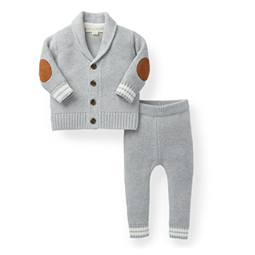 Hope & Henry Layette Boy Grey Cardigan and Sweater Leggings ()
