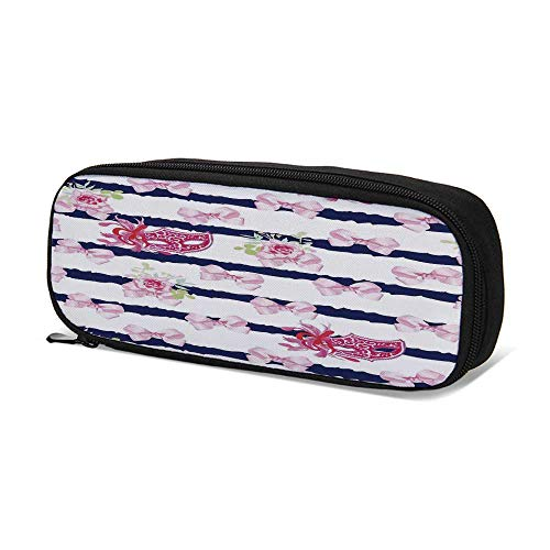 (Masquerade Durable Pen Bag,Venetian Style Carnival Masks on Stripes with Satin Bows Roses Flowers for School,9.4