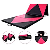 Homevibes 4′ x 10′ x 2″ Gymnastics Mat Thick Folding Panel Tumbling Mat Gym Exercise Aerobics Mat with Handle Compatibility with Stretching Yoga Cheerlanding Martial Arts, Pink & Black For Sale