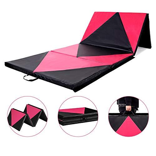 Homevibes 4′ x 10′ x 2″ Gymnastics Mat Thick Folding Panel Tumbling Mat Gym Exercise Aerobics Mat with Handle Compatibility with Stretching Yoga Cheerlanding Martial Arts, Pink & Black