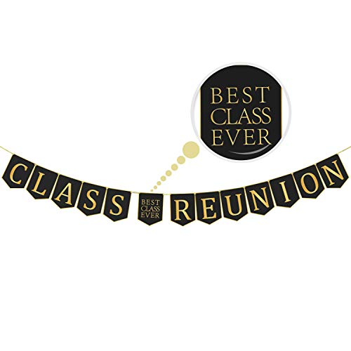 Class Reunion Banner Decorations Classmate Reunion Party Classy and Luxurious Decor Supplies for Schoolmate Gathering Party 13ft Length No DIY Required, Black and Gold -