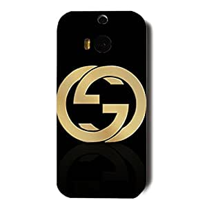 Bling Gucci Luxury Logo Black Background Customized Thin Durrable Plastic 3D Case Cover L6M131 For Htc One M8