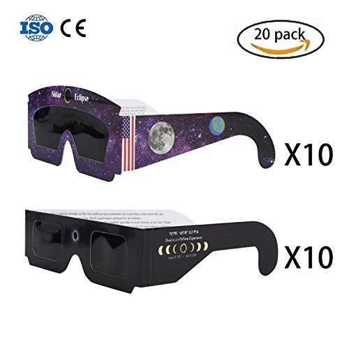 Solar Eclipse Glasses CE and ISO Certified 20 Pack by Page One for Direct Sun Viewing Safety Eye Protection Glasses