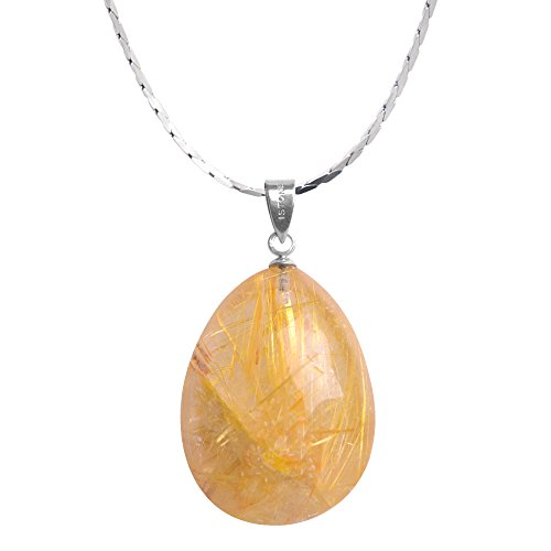 Rutile Quartz Pendant - iSTONE Unisex Natural Rutilated Quartz Water Drop Pendant Necklace 925 Sterling Silver 18