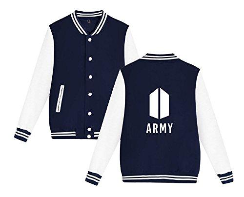 Felpe Moda Giacca Donne Top Army Bts Da T Aivosen E Cappotto Stampate Per shirt Confortevole Uomini Baseball Unisex Blue Sweatshirt RvwzxO