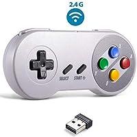 Wireless USB SNES Controller, Kiwitata SNES Retro Classic Gamepad compatible with PC Windows Mac Raspberry Pi Android Phone Wireless Joystick for SENS NES Simulator Game Colour Key