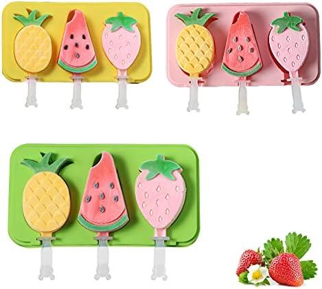 Siliconen Ijsvorm Kleur Ijsvorm Creatieve Diy Ijsstok Cartoon Ijsvorm Watermeloen Ananas Aardbei Vorm Con Siliconen Deksel 3 PCS3 Holte Met 18 Plastic Staven