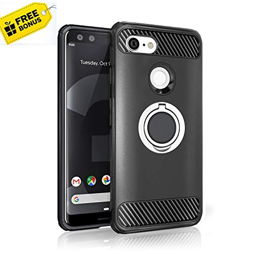 - Google Pixel 3 Case - NEW 2019 Upgraded with Metal Stand Ring - FREE BONUS Cable Protector - Pixel 3 Heavy Duty Protective Phone Case - Google Pixel 3 Rugged TPU Cover - Shockproof Defender Case Pixel