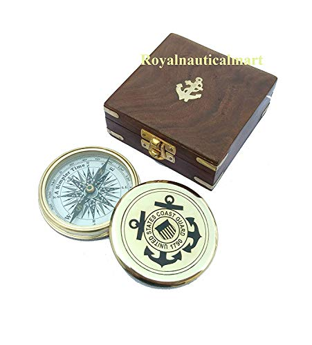 - Royalnauticalmart Engraved Compass, Baptism Gift, Working Compass, United States Coast Guard Gift, Personalized Engraved Compass (Back & Inside Engraved with Wooden Box)
