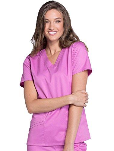 Pocket Scrub V-neck 2 Cherokee (Cherokee Luxe Women's Two Pockets V-Neck Solid Scrub Top X-Large Berry Bodacious)